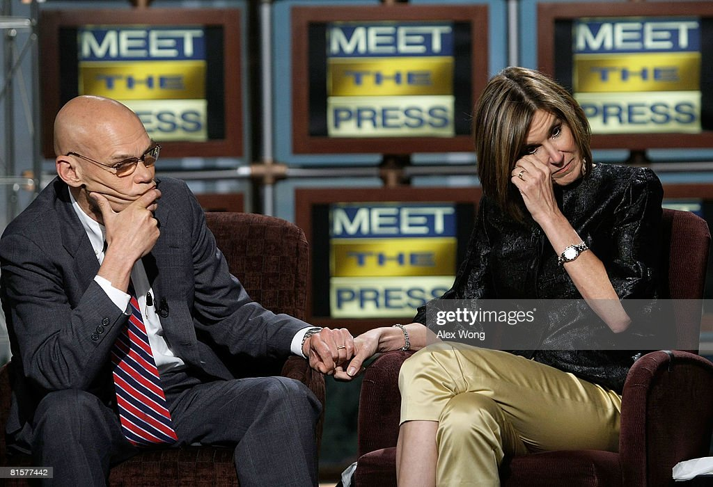 Democratic strategist James Carville (L) holds the hand of his wife Republican strategist Mary Matalin (R) as she wipes her tears during a taping of 'Meet the Press' in memory of the late moderator Tim Russert June 15, 2008 at the NBC studios in Washington, DC. Russert died June 13, 2008 of a heart attack while at the NBC bureau in Washington at the age of 58.
