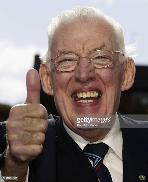 Democratic Ulster Unionist party leader Dr Ian Paisley who celebrates his 79th birthday jokes with the media that he is ready to do battle for the...