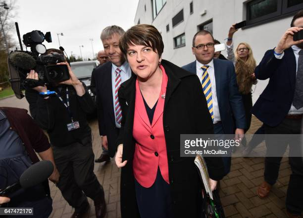 Democratic Unionist party leader and former First Minister Arlene Foster makes her way through the media pack as she arrives at the Northern Ireland...