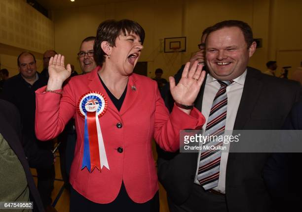 Democratic Unionist party leader and former First Minister Arlene Foster celebrates after being elected as the Northern Ireland Stormont election...