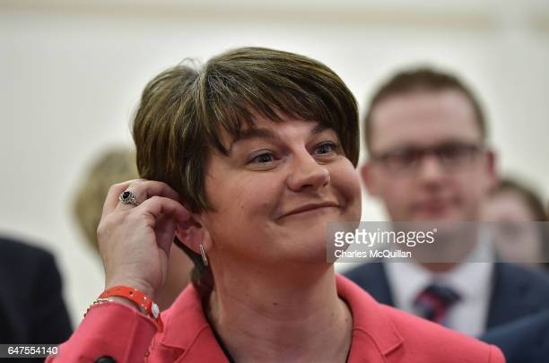 Democratic Unionist party leader and former First Minister Arlene Foster smiles as she is elected live during a television broadcast interview as the...
