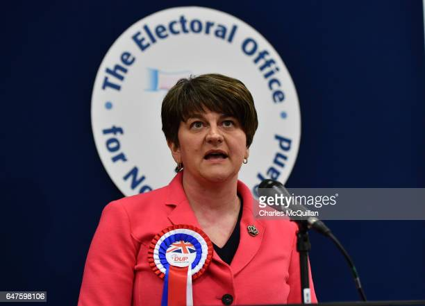 Democratic Unionist party leader and former First Minister Arlene Foster makes her acceptance speech as the Northern Ireland Stormont election count...