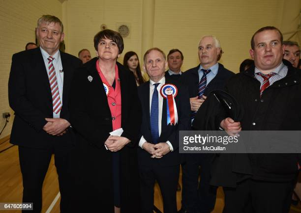 Democratic Unionist party leader and former First Minister Arlene Foster stands with DUP chairman Lord Morrow who lost his seat as the Northern...