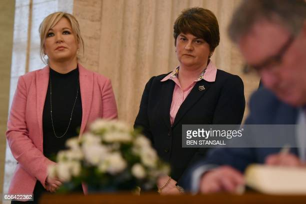 Democratic Unionist Party leader and former Northern Ireland First Minister Arlene Foster and Sinn Fein Northern Ireland Leader Michelle O'Neill wait...