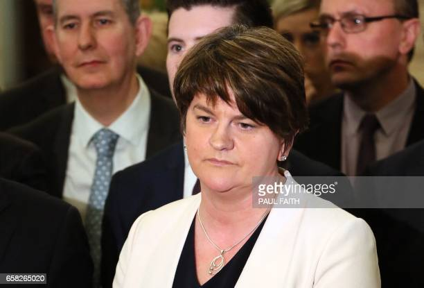 Democratic Unionist Party leader and former Northern Ireland First Minister Arlene Foster speaks to the media inside Parliament Buildings the seat of...