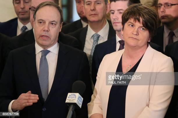 Democratic Unionist Party leader and former Northern Ireland First Minister Arlene Foster and DUP Deputy Leader Nigel Dodds address the media inside...