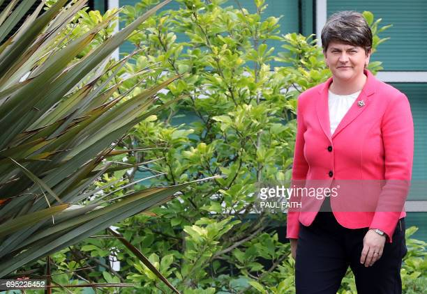 Democratic Unionist Party leader Arlene Foster arrives to address the media outside Stormont Castle on the Stormont Estate in Belfast Northern...