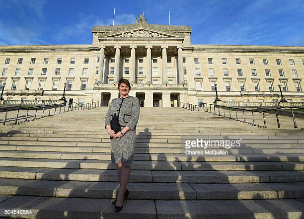 Democratic Unionist Party leader Arlene Foster attends a photo call at Stormont after becoming the new First Minister on January 11 2016 in Belfast...