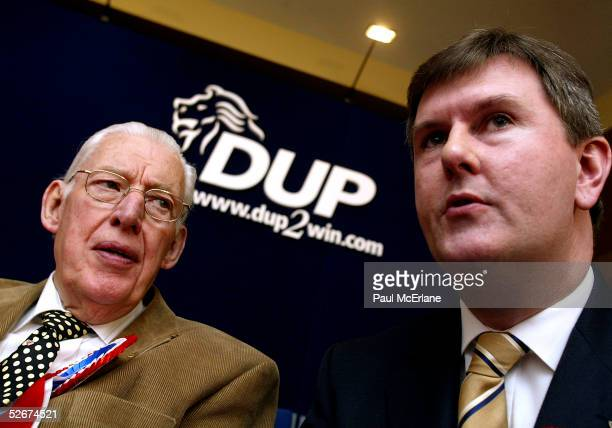 Democratic Unionist Party Leader Dr Ian Paisley chats with Jeffrey Donaldson MLA for Lagan Valley during the launch of their election manifesto at...