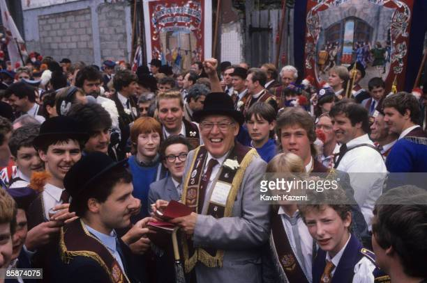 Democratic Unionist Party leader the Reverend Ian Paisley at the Apprentice Boys march during the Relief Parade in the Bogside in Derry Northern...