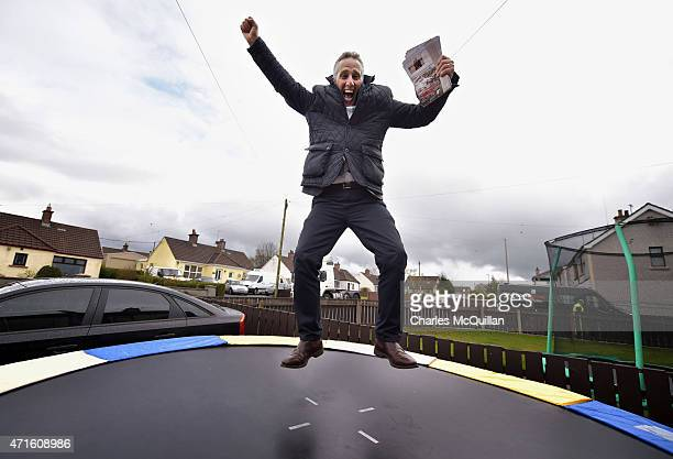 Democratic Unionist Party Westminster candidate Ian Paisley Jr makes impromptu use of a trampoline whilst out canvassing on April 29 2015 in...