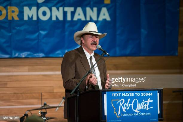 Democratic US congressional candidate Rob Quist campaigns with Senator Bernie Sanders at Montana State University on May 21 2017 in Bozeman Montana...