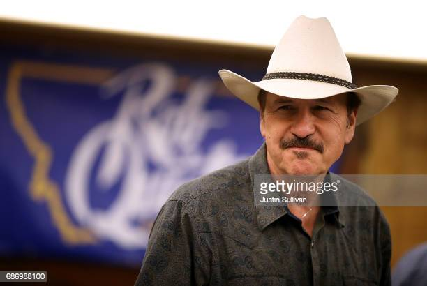 Democratic US Congressional candidate Rob Quist looks on during a gathering with supporters at Darkhorse Hall and Wine Snug on May 22 2017 in Great...