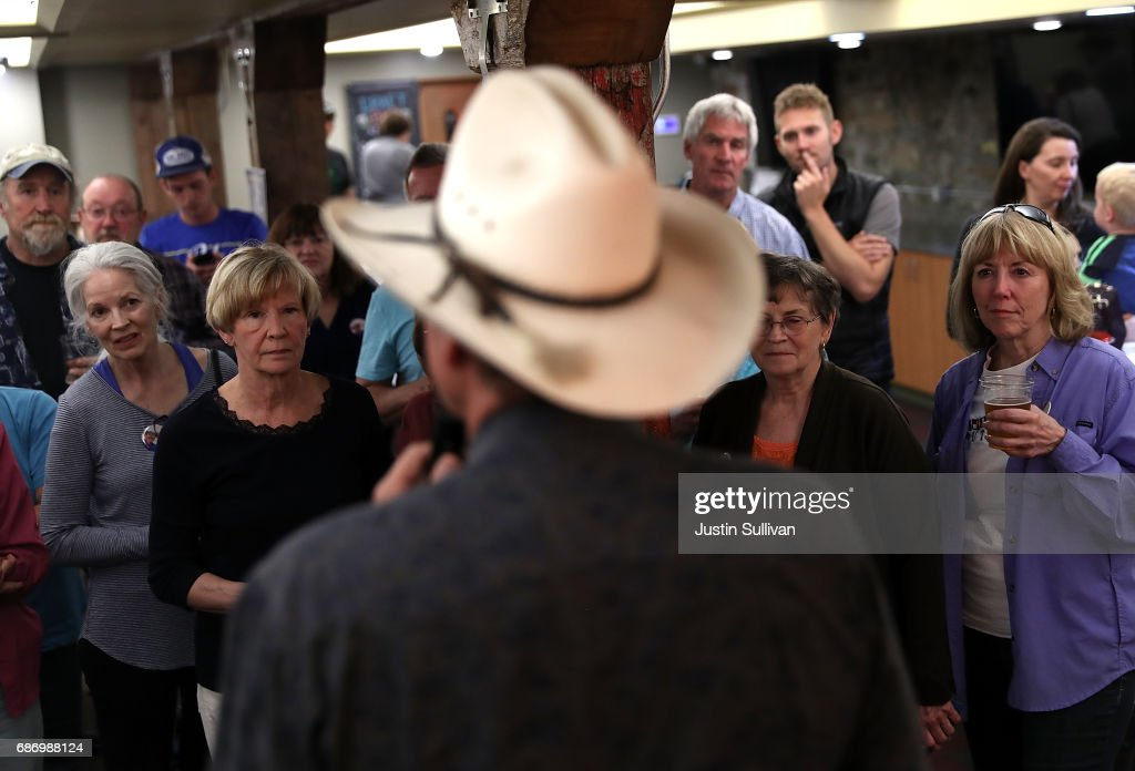 Democratic U.S. Congressional candidate Rob Quist speaks to supporters during a gathering at Darkhorse Hall and Wine Snug on May 22, 2017 in Great Falls, Montana. Rob Quist is campaigning throughout Montana ahead of a May 25 special election to fill Montana's single congressional seat. Quist is in a tight race against republican Greg Gianforte.