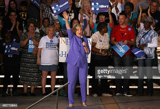 Democratic US presidential hopeful Hillary Clinton speaks to supporters during a campaign rally October 14 2015 in Las Vegas Nevada Clinton continued...