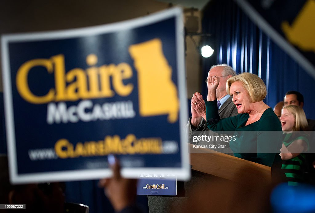 Democratic U.S. Senate incumbent candidate Claire McCaskill gives her victory speech at her election watch party at the Chase Park Plaza Hotel in St. Louis, Missouri on Tuesday, November 6, 2012.