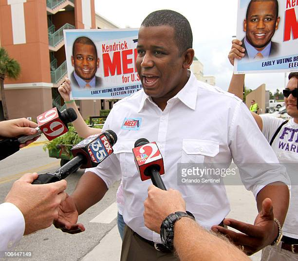 Democratic US Senate nominee Kendrick Meek talks to reporters during a brief visit to a polling precinct at the University of Central Florida in...