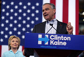 Democratic vice presidential candidate US Sen Tim Kaine speaks alongside Democratic presidential candidate former Secretary of State Hillary Clinton...