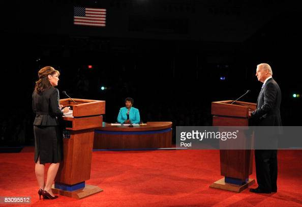 Democratic vice presidential candidate US Senator Joe Biden and Republican vice presidential candidate Alaska Gov Sarah Palin face each other during...