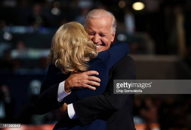 Democratic vice presidential candidate US Vice President Joe Biden hugs his wife Second lady Dr Jill Biden after speaking during the final day of the...