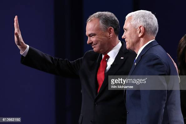 Democratic vice presidential nominee Tim Kaine and Republican vice presidential nominee Mike Pence stand on stage prior to the Vice Presidential...