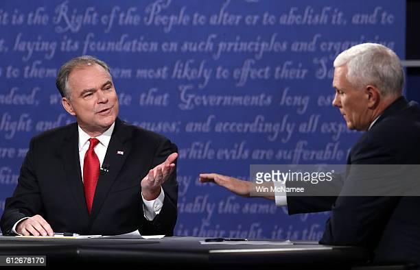 Democratic vice presidential nominee Tim Kaine and Republican vice presidential nominee Mike Pence speak during the Vice Presidential Debate at...