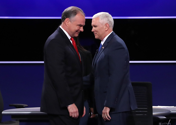 Democratic vice presidential nominee Tim Kaine and Republican vice presidential nominee Mike Pence meet on stage following the Vice Presidential...