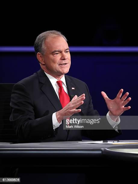 Democratic vice presidential nominee Tim Kaine speaks during the Vice Presidential Debate with Republican vice presidential nominee Mike Pence at...