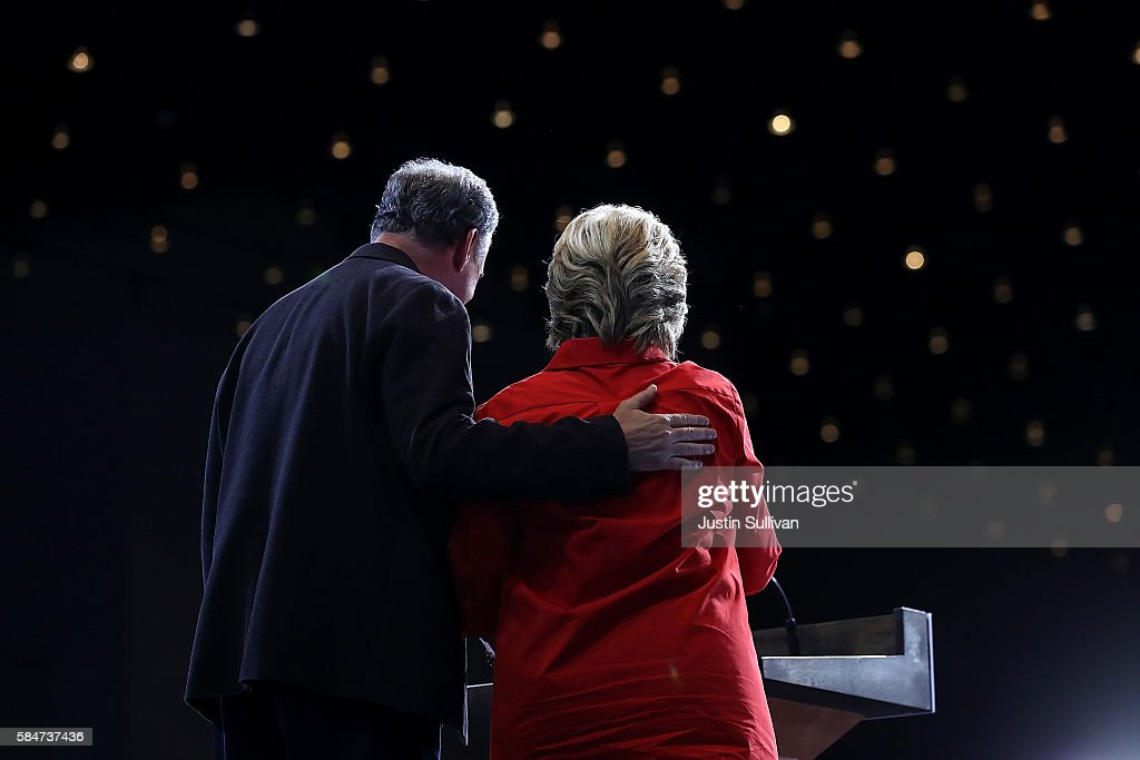 Democratic vice presidential nominee US Sen Tim Kaine and democratic presidential nominee former Secretary of State Hillary Clinton embrace during a...