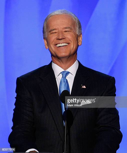 S Democratic VicePresidential nominee Sen Joe Biden smiles while speaking during day three of the Democratic National Convention at the Pepsi Center...