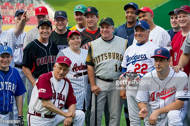 Democrats gather around manager Mike Doyle DPa for a team picture before the 50th Annual Roll Call Congressional Baseball Game held at Nationals...