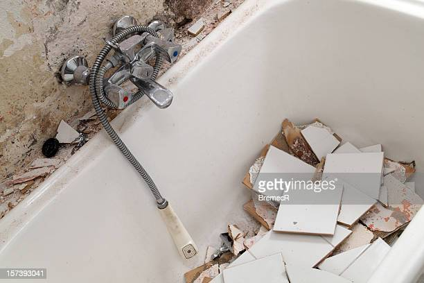 Demolished bath tub
