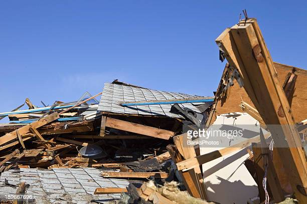Demolished Home against a Clear Blue Sky