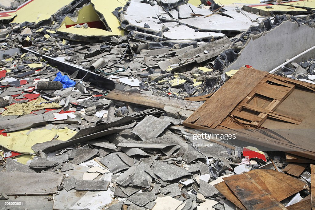 Demolished house objects : Stock Photo