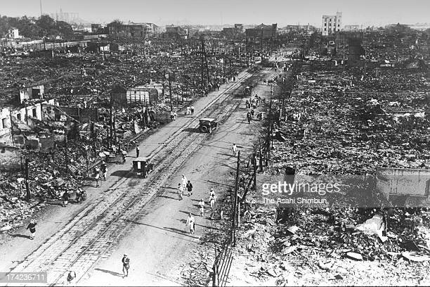 Demolished Ningyocho street and surrounding area is seen after the Great Kanto Earthquake in September 1923 in Tokyo Japan The estimated Magnitude 79...