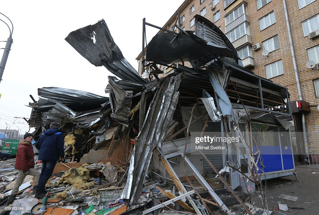 A demolished private trade pavilion in the center on February 9, 2016 in Moscow, Russia. New Moscow authorities have ordered 97 shopping centers, trade pavilions, street kiosks and stalls built without legal documentation near metro stations to be removed, stating they may harm transport infrastructure engineering communications. Large-scale demolition of kiosks and small shopping centers began on Monday night with 55 percent of the properties having been completely removed by Tuesday morning.