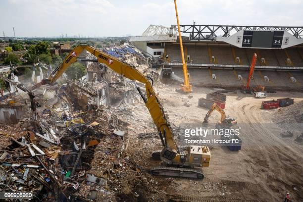 Demolition continues as work progresses on Tottenham Hotspur FC new stadium the White Hart Lane redevelopment at White Hart Lane on June 15 2017 in...