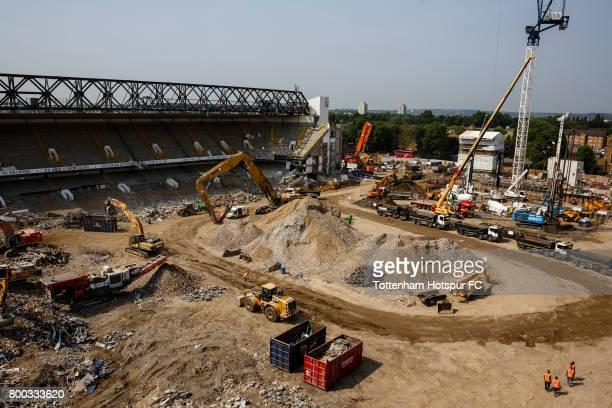 Demolition continues as work progresses on Tottenham Hotspur FC new stadium the White Hart Lane redevelopment at White Hart Lane on June 21 2017 in...