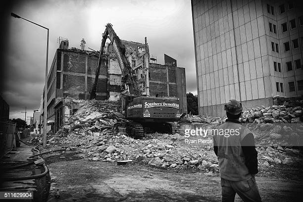 Demolition continues on the Alliance Assurance building on February 22 2016 in Christchurch New Zealand Five years ago to the day an earthquake...