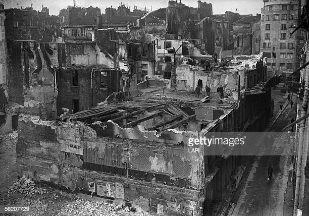 Demolition of a unfit for habitation housing block at the corner of the SaintMartin and Grenier SaintLazare street Paris 1941