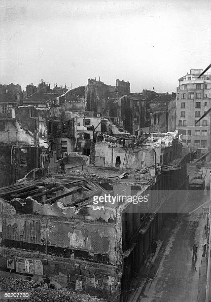 Demolition of a unfit for habitation housing block of the corner of the SaintMartin and Grenier SaintLazare streets Paris 1941