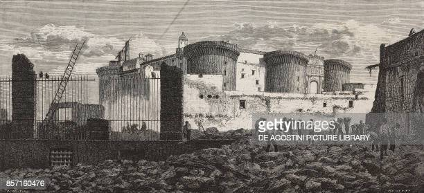 Demolition of the walls of Castelnuovo Naples Italy drawing of Naples by Michetti illustration from Nuova illustrazione Universale Year 1 Vol II No...