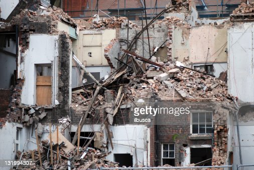 Demolition Concrete Wall : Brick and concrete wall stock photos pictures getty