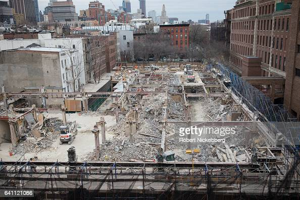 Demolition work continues on the former Long Island College Hospital February 5 2017 in Brooklyn New York The complex of hospital buildings was...