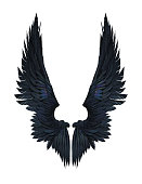 3d Illustration Demon Wings, Black Wing Plumage Isolated on White Background whit clipping path.