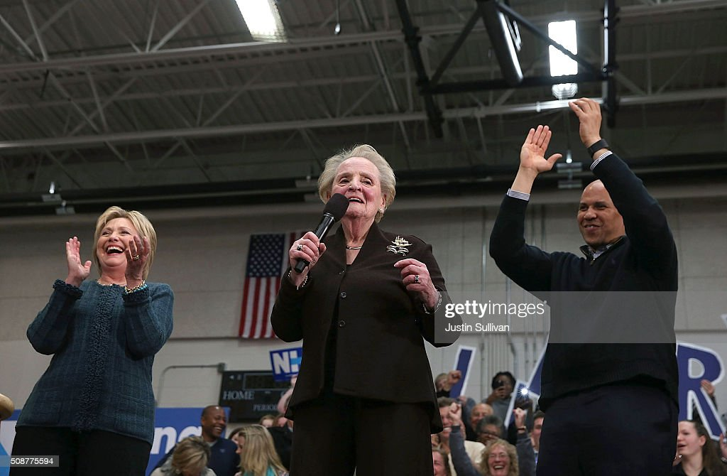 Demoncratic presidential candidate former Secretary of State Hillary Clinton, former Secretary of State Madeleine Albright and U.S. Sen. Cory Booker (D-NJ) participate in a get out the vote organizing event at Rundlett Middle School on February 6, 2016 in Concord, New Hampshire. With less than one week to go before the New Hampshire primaries, Hillary Clinton continues to campaign throughout the state.