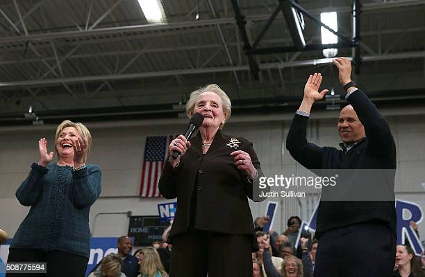 Demoncratic presidential candidate former Secretary of State Hillary Clinton former Secretary of State Madeleine Albright and US Sen Cory Booker...