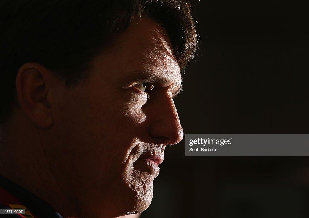Demons AFL coach Paul Roos speaks to the media during a Melbourne Demons AFL press conference at AAMI Park on April 28, 2014 in Melbourne, Australia.