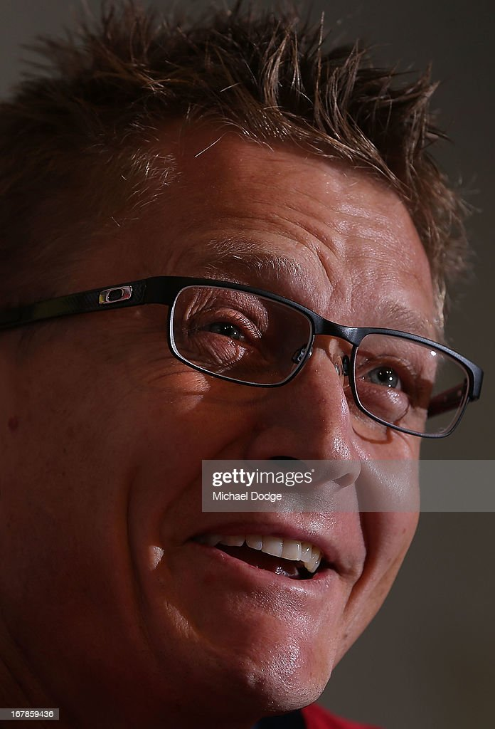 Demons coach Mark Neeld speaks at his media press conference before a Melbourne Demons AFL training session at Gosch's Paddock on May 2, 2013 in Melbourne, Australia.