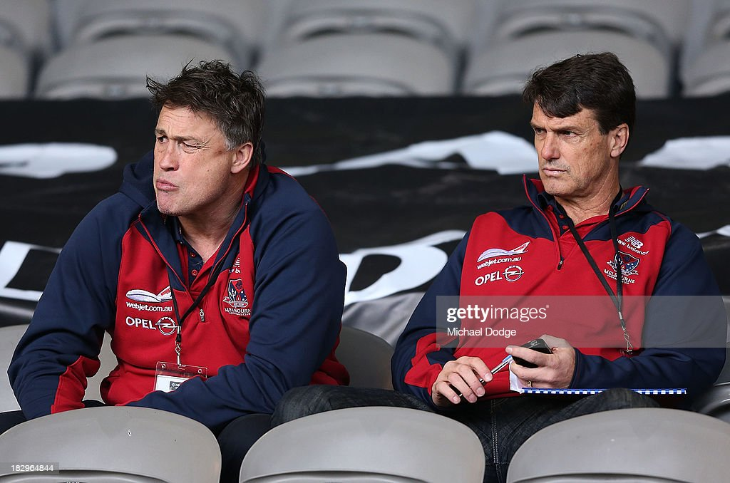 Demons coach Paul Roos (R) and assistant coach Todd Viney are seen during the 2013 AFL Draft Combine at Etihad Stadium on October 3, 2013 in Melbourne, Australia.